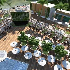 visão palco e área da piscina: Hotéis  por SAULO BARROS arquitetos