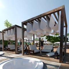 área de camarotes e arvore para DJ ao fundo: Hotéis  por SAULO BARROS arquitetos