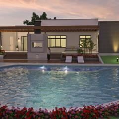 Diseño de Casa Moderna en Un piso, área construida 500 M2: Piscinas de estilo  por Arquitecto Pablo Restrepo