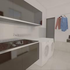 Casa Luz BH: Garagens e edículas minimalistas por OMA Arquitetura