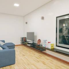 Casa Luz BH: Salas multimídia  por OMA Arquitetura,Minimalista