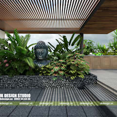BIỆT THỰ HIỆN ĐẠI SÂN VƯỜN HỒ BƠI:  Hiên, sân thượng by UK DESIGN STUDIO - KIẾN TRÚC UK, Hiện đại