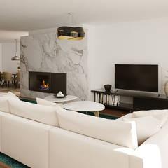 Moradia Unifamiliar T3 - Lordelo-Paredes: Salas de estar modernas por EsboçoSigma, Lda