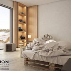Dormitório Frente para o Mar: Quartos  por Breion Arquitetura