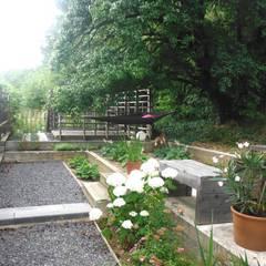 pickartzarchitektur-BaM2-Holzterrasse mit Essplatz: minimalistischer Garten von pickartzarchitektur