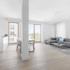 Our photoshoot of minimalistic apartment design by Design My Deer Minimalistyczny salon od Ayuko Studio Minimalistyczny