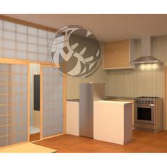 ออกแบบ 3d  ห้อง condo ให้ลูกค้า  style Oriental :  ห้องครัว by mayartstyle