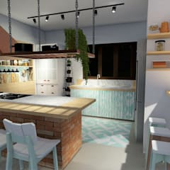 Cozinha com fogão a lenha Cozinhas coloniais por Okla Arquitetura Colonial Tijolo
