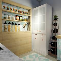 Cozinha com fogão a lenha Cozinhas coloniais por Okla Arquitetura Colonial Madeira maciça Multi colorido