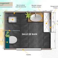 Plan d'aménagement: Salle de bains de style  par DESIGN KREATION