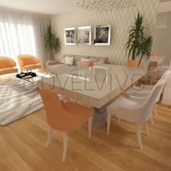Orange Dining Room:  Dining room by Movelvivo Interiores