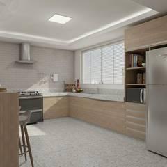 Sala de estar, jantar e cozinha: Cozinhas  por Marcela Matos Arquitetura e Interiores