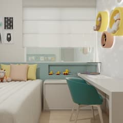 minimalistic Nursery/kid's room by Marcela Matos Arquitetura e Interiores