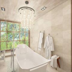 Baño en habitación principal con ducha doble y bañera central, lavabo integrado en mueble realizado en madera con acabado whitewash: Baños de estilo  de horasDluz Studio