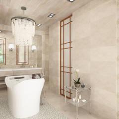 Bañera central con lámpara de diseño: Baños de estilo  de horasDluz Studio