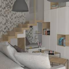 Dom jednorodzinny we Wrocławiu: styl , w kategorii Salon zaprojektowany przez PUFA STUDIO
