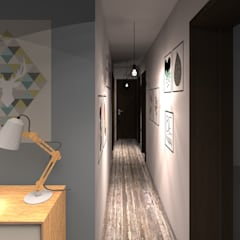 Homestaging 3d: Couloir et hall d'entrée de style  par LSAI