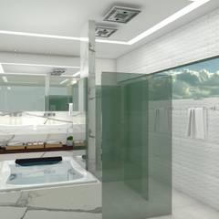 Suíte master - Clientes K+R: Banheiros  por Matos Xavier Arquitetura