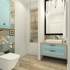 Mała przytulna łazienka w pastelowych kolorach: styl , w kategorii Łazienka zaprojektowany przez Esteti Design