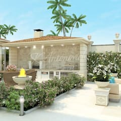 ​  Landscaping in the Mediterranean style from Katrina Antonovich:  Houses by Luxury Antonovich Design, Mediterranean