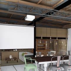 Quincho Loft Industrial: Salas multimedia de estilo  por ARBOL Arquitectos
