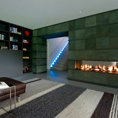 Wand bekleden met tegels van 100% leer, open haard:  Muren door Mutsaers Leather flooring