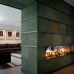 wand bekleding open haard met 100% leren tegels:  Muren door Mutsaers Leather flooring