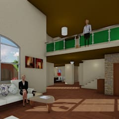 Sala de estar: Salas de estilo rústico por OmaHaus Arquitectos