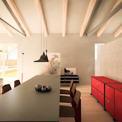 110_Abitazione in campagna: Sala multimediale in stile  di MIDE architetti