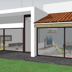 Fachada interior con vista al Jardín: Casas unifamiliares de estilo  por MAAS Arquitectura & Diseño
