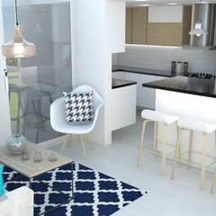 sala  comedor : Cocinas de estilo  por Naromi  Design ,