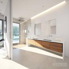 Interior, baño principal: Baños de estilo  de ARQuitrazos