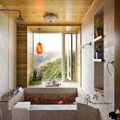 Rustic style bathrooms by 采荷設計(Color-Lotus Design) Rustic Slate