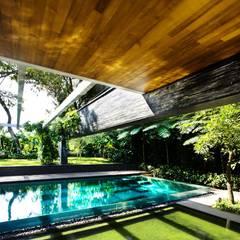 Privacy Tropical Garden Design: asiatischer Pool von Paul Marie Creation