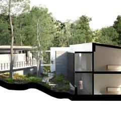 Casa Habitación Reserva de los Encinos: Jardines en la fachada de estilo  por de Silva Arquitectos