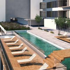 Plan Maestro Conceptual Vivienda Vertical: Albercas de jardín de estilo  por de Silva Arquitectos
