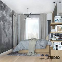 SZARA SYPIALNIA : styl , w kategorii Sypialnia zaprojektowany przez MIKOŁAJSKAstudio