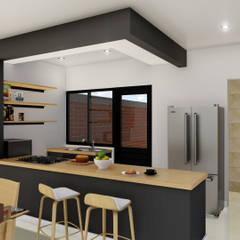 مطبخ ذو قطع مدمجة تنفيذ IAD Arqutiectura,