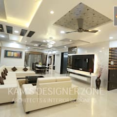 Home interior design for Satish Tayal:  Living room by KAM'S DESIGNER ZONE