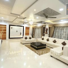 Living Room Interior Design:  Living room by KAM'S DESIGNER ZONE