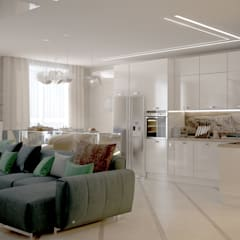 """Дизайн кухни-гостиной в стиле модернизм в ЖК """"Большой"""", г.Краснодар: Кухни в . Автор – Студия интерьерного дизайна happy.design"""