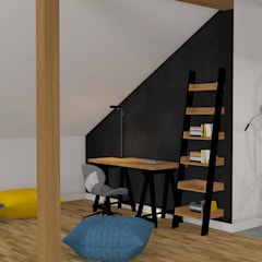 Mieszkanie na poddaszu: styl , w kategorii Domowe biuro i gabinet zaprojektowany przez Katarzyna Piotrowiak Pure Form