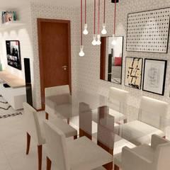 Vista da entrada principal.: Salas de jantar  por Collevatti Arquitetura