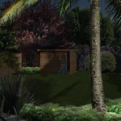 JARDIN FLEURI AUX TOUCHES EXOTIQUES // Asnières-sur-Seine (92): Jardin de style  par Sophie coulon - Architecte Paysagiste