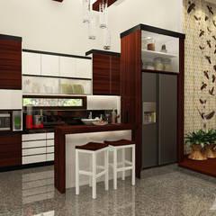 Pantry bergaya campuran antara etnik dan modern:  Unit dapur by AIRE INTERIOR