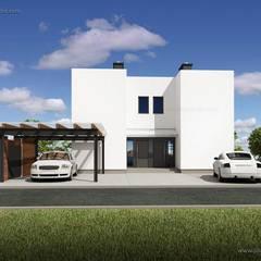 NOWOCZESNY DOM BIZNIAK ECO, PŁASKI DACH: styl , w kategorii Dom wielorodzinny zaprojektowany przez Plug Studio