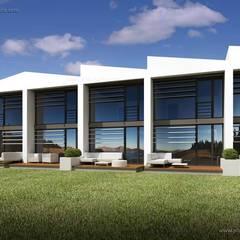 TERRACE HOUSE LONGER: styl , w kategorii Dom szeregowy zaprojektowany przez Plug Studio
