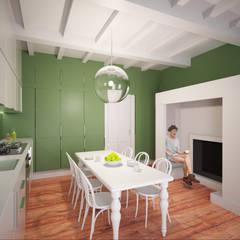 Restyling cucina con nicchia camino abitabile: Cucina attrezzata in stile  di Arch. Francesco Antoniazza - Dimore di Lago