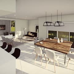 Comedor conectado a la zona de servicio, y en relación directa con el espacio exterior: Comedores de estilo  por Quinta Fachada