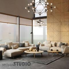 DREWNIANA MOZAIKA NA ŚCIANIE: styl , w kategorii Salon zaprojektowany przez MIKOŁAJSKAstudio